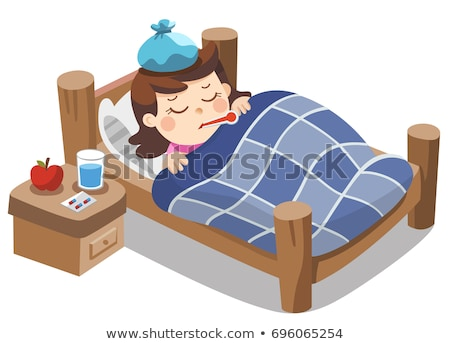 sick sad child girl boy lies with thermometer in mouth vector isolated cartoon illustration stock photo © pikepicture