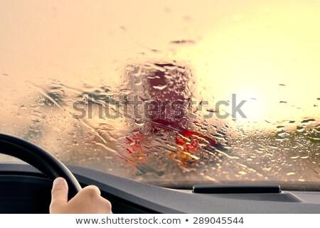 sürücü · yağmur · trafik · sıkışıklığı · araba · ön · cam · ayna - stok fotoğraf © szefei