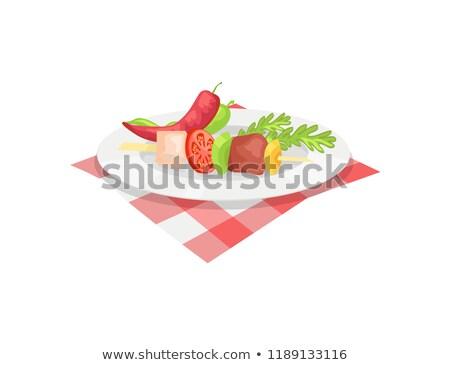 バーベキュー · 漫画 · 実例 · バーベキューグリル · 食品 · 肉 - ストックフォト © robuart