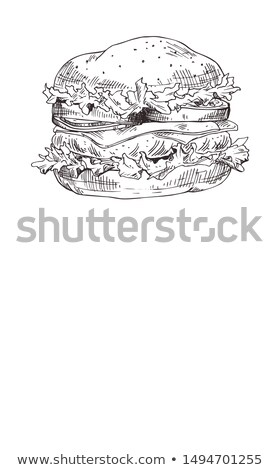 Hand Drawn Carry-out Foodstuff Poster for Snackbar Stock photo © robuart