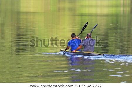 Paar genieten kajakken gelukkig meer Stockfoto © Kzenon