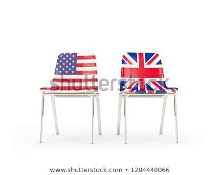 Zdjęcia stock: Dwa · krzesła · flagi · odizolowany · biały · 3d · ilustracji