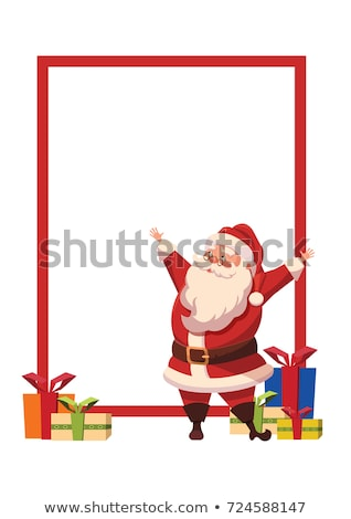 merry christmas santa claus with wide open hands stock photo © robuart