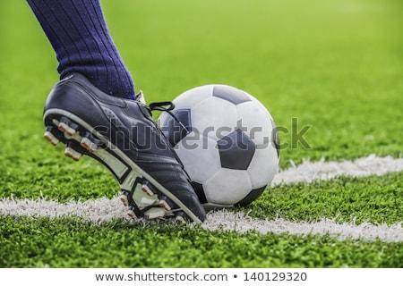 Footballer shoot a soccer ball with his feet on the football field Stock photo © matimix