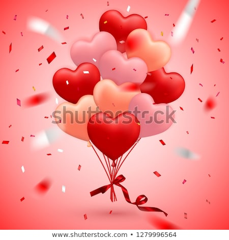 happy valentines day background red balloon in form of heart with bow and ribbon vector illustrati stock photo © olehsvetiukha