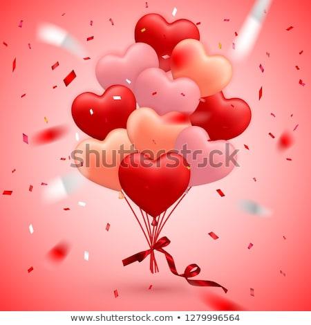 Mutlu sevgililer günü kırmızı balon form kalp Stok fotoğraf © olehsvetiukha