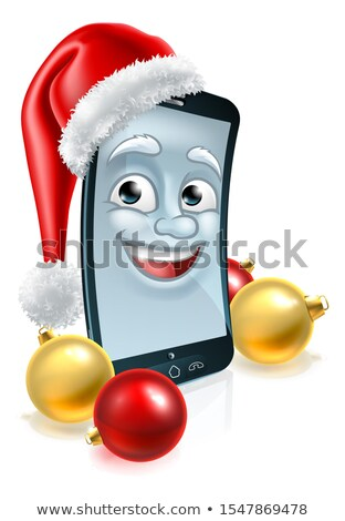 mobile cell phone christmas mascot in santa hat stock photo © krisdog