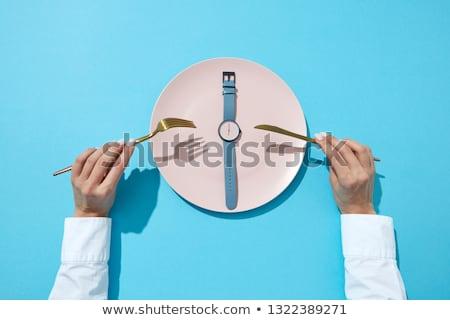 ダイエット · 時間 · 実例 · ダイエット · プレート · フォーク - ストックフォト © artjazz