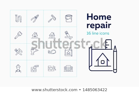 Set of vector flat icons on the topic of repair and building tools stock photo © heliburcka