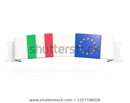баннер два квадратный флагами Италия европейский Сток-фото © MikhailMishchenko