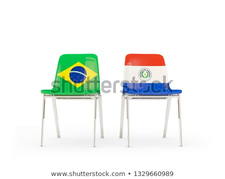Dwa krzesła flagi Brazylia Paragwaj odizolowany Zdjęcia stock © MikhailMishchenko
