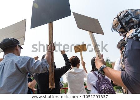 protest · groep · vector · silhouetten · menigte - stockfoto © robuart