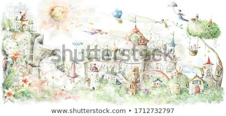 gyerek · lány · angyal · repülés · hárfa · hóbortos - stock fotó © colematt