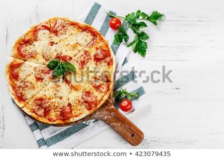 Pizza queijo salame comida logotipo restaurante Foto stock © djdarkflower