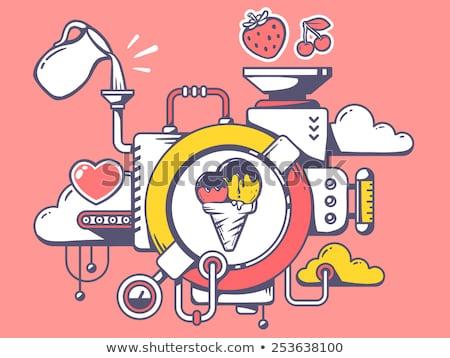 Eis · sozialen · Retro · Zeichen · hellen · Farben - stock foto © pikepicture