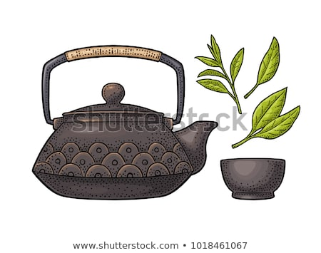Ceramic White Teapot With Vector Green Tea Leaf ストックフォト © pikepicture