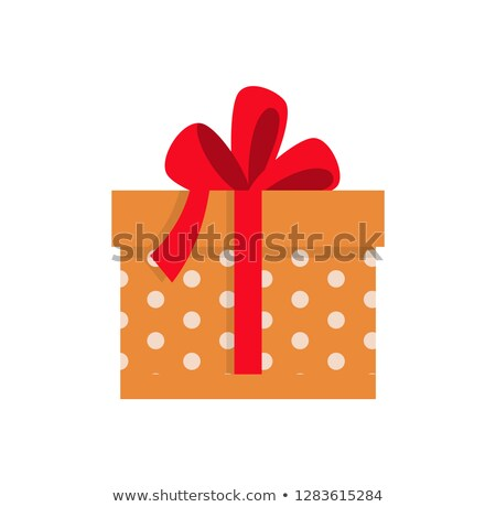 Present in Dotted Wrapped Wide Red Ribbon Vector Stock photo © robuart