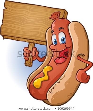 Rajz hotdog tart felirat feketefehér illusztráció Stock fotó © bennerdesign
