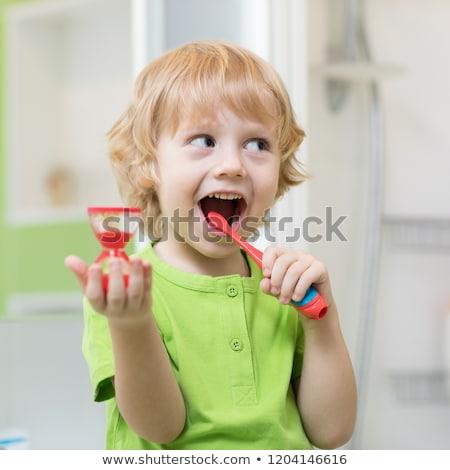 Stockfoto: Jongen · tanden · ochtend · tandenborstel · glimlach · gezicht