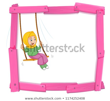 A muslim girl sin on swing frame Stock photo © colematt