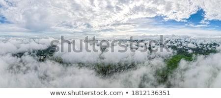 Bulutlar köy manzara üst görmek Stok fotoğraf © vapi
