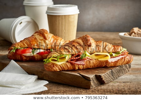 Kahve kruvasan sandviç ahşap masa fransız kahvaltı Stok fotoğraf © karandaev