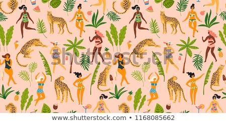 наслаждаться лет женщину коктейль пальма лист Сток-фото © robuart