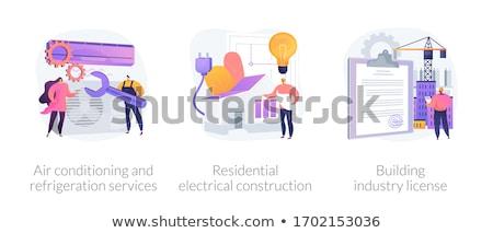 Klimatyzacja chłodzenie usług elektryk usługi instalacja Zdjęcia stock © RAStudio