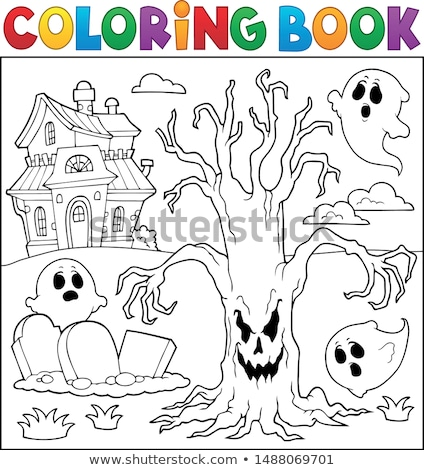 coloring book spooky tree thematics 2 stock photo © clairev