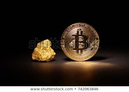 Pièce d'or bitcoin pierre fond sécurité signe Photo stock © butenkow