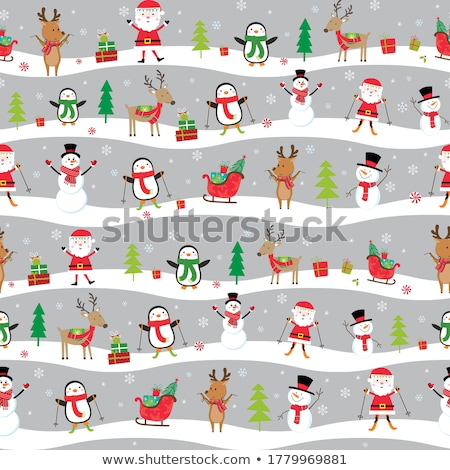 Seamless background design with Santa on sleigh Stock photo © bluering