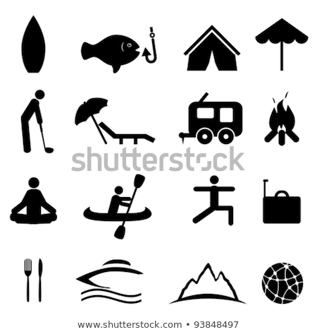 Beach Umbrella Canoeing Icon Vector Illustration Stock photo © pikepicture