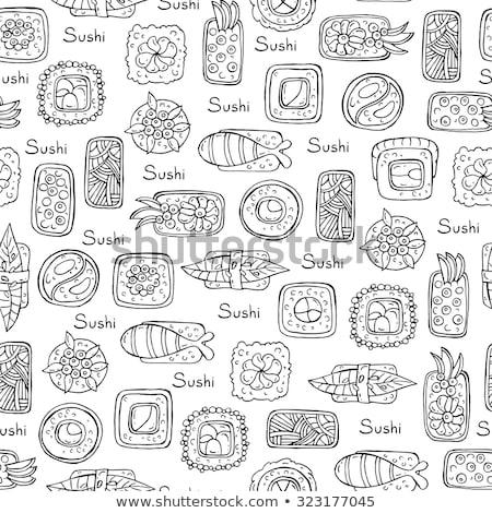 Sushi sayfa vektör Japonya gıda Stok fotoğraf © yopixart