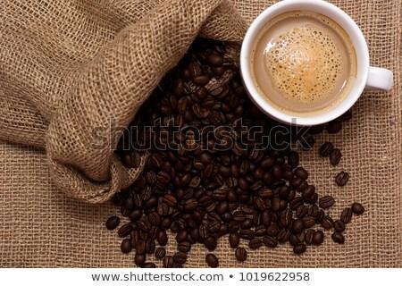 Quente grãos de café pano de saco saúde Foto stock © mizar_21984