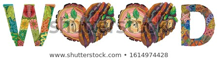 WOOD with doodle hearts with tree bark texture and young shoots Stock photo © Natalia_1947