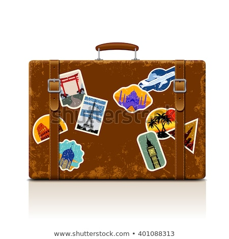 Travel Valise Luggage With Stickers Poster Vector Stock photo © pikepicture