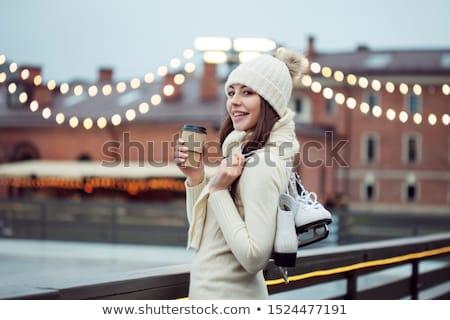 Girls Skating on Rink, Active Winter Holidays Stock photo © robuart