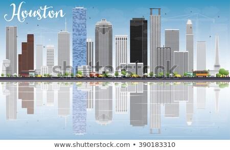 Houston ufuk çizgisi gri binalar mavi gökyüzü yansımalar Stok fotoğraf © ShustrikS