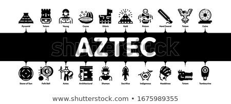 Aztec Civilization Minimal Infographic Banner Vector Stock photo © pikepicture