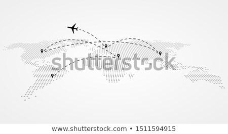 Linia lotnicza samolotów szary mapie świata perspektywy odizolowany Zdjęcia stock © evgeny89