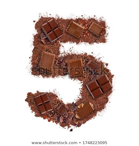 Szám csokoládé szelet darabok izolált fehér étel Stock fotó © grafvision