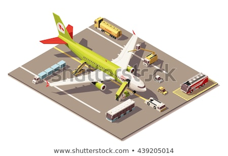 Plane Tow Truck isometric icon vector illustration Stock photo © pikepicture