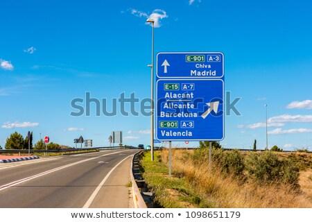 Hiszpania znak autostrady zielone Chmura ulicy podpisania Zdjęcia stock © kbuntu