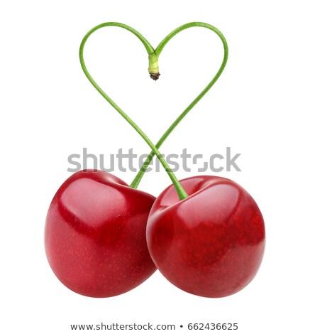 Cereja coração coleção fruto vermelho rosa Foto stock © adrian_n
