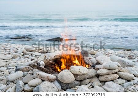 tengerpart · tábortűz · alkonyat · óceán · narancs · homok - stock fotó © frankljr