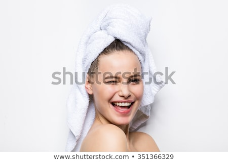 wellness relaxing woman in towel isolate on white stock photo © lordalea