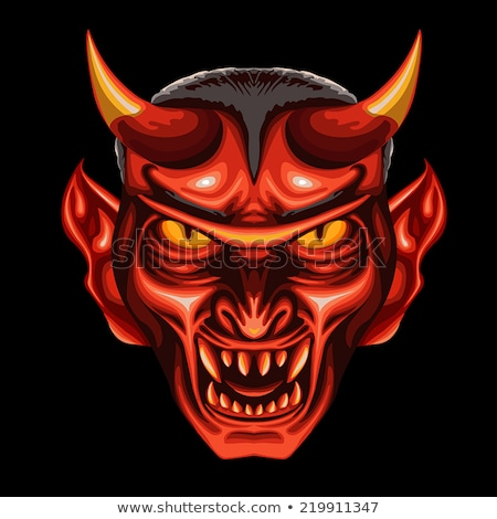 Demon mascotte hoofd vector cartoon afbeelding Stockfoto © chromaco