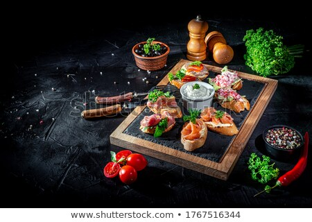 Geroosterd baguette bruschetta turkoois plaat Stockfoto © bendicks