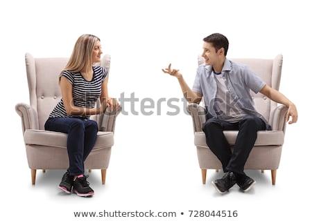 sarışın · kız · oturma · sandalye · güzel · seksi - stok fotoğraf © photography33