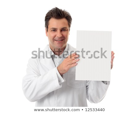 Doctor pharmacist holding brochure, sign, fact sheet Stock photo © lovleah